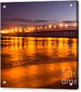 Huntington Beach Pier At Night Acrylic Print by Paul Velgos