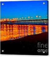 Huntington Beach Pier - Nightside Acrylic Print by Jim Carrell