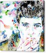 Ian Curtis Smoking Cigarette Watercolor Portrait Acrylic Print by Fabrizio Cassetta
