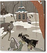 Ice Skating On The Frozen Lake Acrylic Print by Georges Barbier