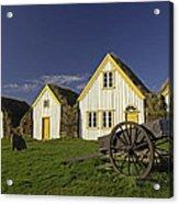 Icelandic Turf Houses Acrylic Print by Claudio Bacinello
