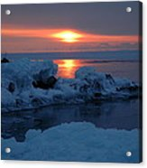 Icy Lake Superior Sunrise Acrylic Print by Sandra Updyke