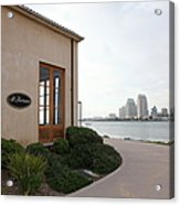 Il Fornaio Italian Restaurant In Coronado California Overlooking The San Diego Skyline 5d24364 Acrylic Print by Wingsdomain Art and Photography