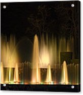 Illuminated Dancing Fountains Acrylic Print by Sally Weigand
