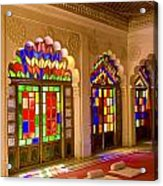 India, Stained Glass Windows Of Fort Acrylic Print by Bill Bachmann