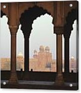 India, View Of Red Fort From Jama Acrylic Print by Richard Maschmeyer