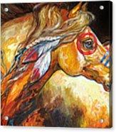 Indian War Horse Golden Sun Acrylic Print by Marcia Baldwin