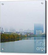 Indianapolis Autumn Skyline Fog Acrylic Print by David Haskett