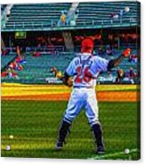 Indianapolis Indians Catcher Acrylic Print by David Haskett