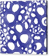 Indigo Bubbles- Contemporary Absrtract Watercolor Acrylic Print by Linda Woods