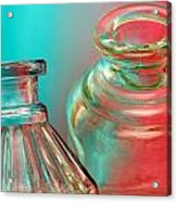 Ink Bottles On Color Acrylic Print by Carol Leigh
