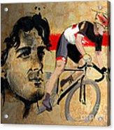 Ink Portrait Illustration Print Of Cycling Athlete Fabian Cancellara Acrylic Print by Sassan Filsoof