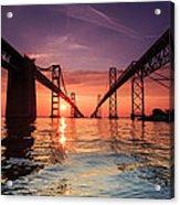 Into Sunrise - Bay Bridge Acrylic Print by Jennifer Casey