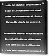 Invictus By William Ernest Henley Acrylic Print by Daniel Hagerman