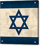 Israel Flag Vintage Distressed Finish Acrylic Print by Design Turnpike