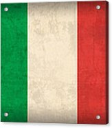 Italy Flag Vintage Distressed Finish Acrylic Print by Design Turnpike