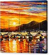 Italy Naples Harbor Acrylic Print by Leonid Afremov