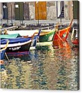 Italy Portofino Colorful Boats Of Portofino Acrylic Print by Anonymous