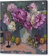 J. P. Chenet And Peonies Acrylic Print by Diane McClary