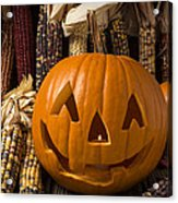 Jack-o-lantern And Indian Corn  Acrylic Print by Garry Gay