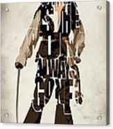 Jack Sparrow Inspired Pirates Of The Caribbean Typographic Poster Acrylic Print by Ayse Deniz