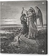 Jacob Wrestling With The Angel Acrylic Print by Gustave Dore