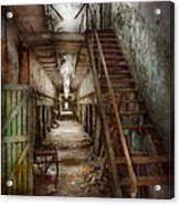 Jail - Eastern State Penitentiary - Down A Lonely Corridor Acrylic Print by Mike Savad