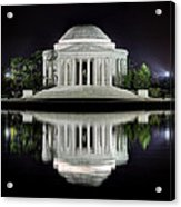 Jefferson Memorial - Night Reflection Acrylic Print by Metro DC Photography