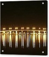 Jensen Causeway At Night Acrylic Print by Lynda Dawson-Youngclaus
