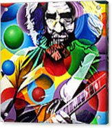 Jerry Garcia In Bubbles Acrylic Print by Joshua Morton