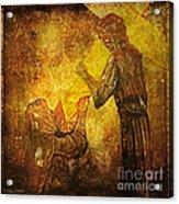 Jesus Meets His Mother Via Dolorosa 4  Acrylic Print by Lianne Schneider