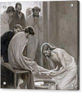 Jesus Washing The Feet Of His Disciples Acrylic Print by Albert Gustaf Aristides Edelfelt