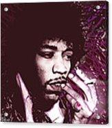 Jimi Hendrix Purple Haze Red Acrylic Print by Tony Rubino