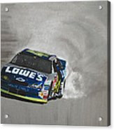 Jimmie Johnson-victory Burnout Acrylic Print by Paul Kuras