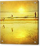 Jogging On Beach With Gulls Acrylic Print by Theresa Tahara