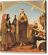 John Wycliffe Reading His Translation Of The Bible To John Of Gaunt Acrylic Print by Philip Ralley