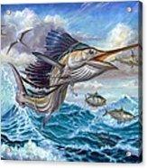 Jumping Sailfish And Small Fish Acrylic Print by Terry Fox