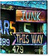 Junk This Way Acrylic Print by Julie Dant