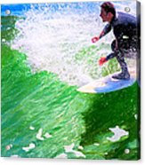 Just Surf - Santa Cruz California Surfing Acrylic Print by Mark E Tisdale