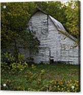 Kansas White Barn Acrylic Print by Guy Shultz