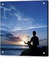 Keeping Sun - Young Man Meditating On The Beach Acrylic Print by Anna Kaminska