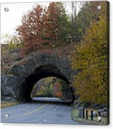 Kelly Drive Rock Tunnel In Autumn Acrylic Print by Bill Cannon