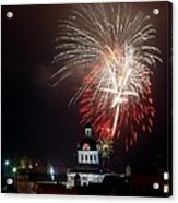 Kingston New Years Eve Fireworks Acrylic Print by Paul Wash