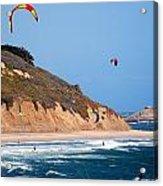 Kite Surfers Acrylic Print by Bob Wall