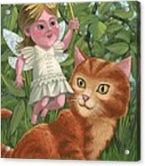 Kitten With Girl Fairy In Garden Acrylic Print by Martin Davey