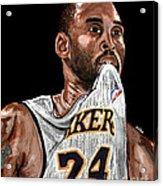 Kobe Bryant Biting Jersey Acrylic Print by Israel Torres