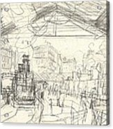 La Gare Saint Lazare Acrylic Print by Claude Monet