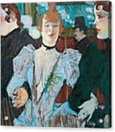 La Goulue Arriving At Moulin Rouge With Two Women Acrylic Print by Henri de Toulouse Lautrec