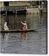 Ladies Plying A Small Boat In The Dal Lake In Srinagar - In Fron Acrylic Print by Ashish Agarwal