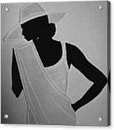 Lady In White Acrylic Print by Marie Halter